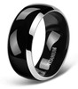 (8mm) Unisex or Men's Titanium Wedding Ring Bands. Two Tone Black and Silver High Polish, Comfort Fit and Light Weight Ring.