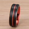 (8mm) Unisex or Men's Black and Red Matte Finish Tungsten Carbide Wedding Ring Band with Double Red Tone. Beveled Edges, Grooved and Comfort Fit