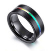 (8mm) Unisex or Men's Tungsten Carbide Wedding Ring Band. Grooved Rainbow Anodized Black Ring.