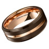 (8mm) Unisex or Men's Tungsten Carbide Wedding Ring Band. Brown Matte Finish Band with Rose Gold. Beveled Edges, Grooved and Comfort Fit.