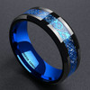 (8mm) Unisex or Men's Black and Blue Celtic Tungsten Carbide Wedding Ring Band. Inner and Outer Blue Tone with Resin Inlay Over Meteorite Style Design.
