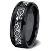 (8mm) Unisex or Men's Black and Silver Celtic Knot Tungsten Carbide Wedding Ring Band with Resin Inlay.