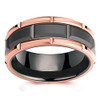 (8mm) Unisex or Men's Tungsten Carbide Wedding Ring Band. Duo Tone Black and Rose Gold Brick Pattern Comfort Grooved Fit Ring.