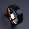 (8mm) Unisex or Men's Black Matte Finish and Rose Gold Tungsten Carbide Wedding Ring Band. Dome Edges with Black Top and Rose Gold Inside