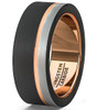 (8mm) Unisex or Men's Tungsten Carbide Wedding Ring Band. Three Tone Black, Rose Gold and Silver / Gray Tone Stripe Design. Comfort Fit.