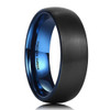 (7mm) Unisex or Men's Tungsten carbide Wedding ring band. Inside Blue, Domed Top Black Matte Finish Ring.