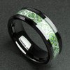 (8mm) Unisex or Men's Tungsten Carbide Wedding Ring Band. Celtic Knot Black Resin Inlay Silver and Bright Green Ring