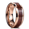 (8mm) Unisex or Men's Wood Inlay and Rose Gold Tone Tungsten Carbide Wedding Ring Band with High Polish and Beveled Edges.
