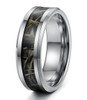 (8mm) Unisex or Men's Silver Tone with Green and Tan Camouflage Tungsten Carbide Wedding Ring Band with Carbon Fiber Inlay