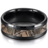 (8mm) Unisex or Men's Black Tone with Light Tan Camouflage Tungsten Carbide Wedding Ring Band with Carbon Fiber Inlay