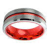 (8mm) Unisex or Men's Tungsten Carbide Wedding Ring Band. Silver Matte Top with Red Groove Center and Inside. Beveled Edges.