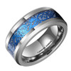 (8mm) Unisex or Men's Tungsten Carbide Wedding Ring Band. Silver and Sky Blue Resin Inlay Celtic Knot Ring.