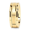 (8mm) Unisex or Men's Tungsten Carbide Wedding Ring Band. 14K Yellow Gold Brick Pattern Comfort Fit Grooved Ring.