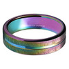 (4mm) Women's Tungsten Carbide Wedding Ring Band. Rainbow Anodized Flat Top Grooved Ring.