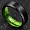 (8mm) Unisex or Men's Tungsten Carbide Wedding Ring Band. Black Matte Top and Green Polished Inside with Beveled Edges.