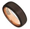 (8mm) Unisex or Men's Tungsten Carbide Wedding Ring Band. Brown Band with Matte Top  and Rose Gold High Polish Finish Inside. Beveled Edge and Comfort Fit.
