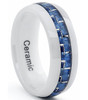 (8mm) Unisex or Men's Ceramic Wedding Ring Band. White Band with Blue Carbon Fiber Inlay Design. Comfort Fit.