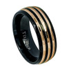 (8mm) Unisex or Men's Titanium Wedding Ring Bands. Triple Groove Line, Polish Finish Duo Tone Black and Rose Gold Ring.