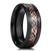 (8mm) Unisex or Men's Ceramic Wedding Ring Band. Celtic Knot Ring with Rose Gold and Black Resin Inlay.