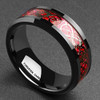 (8mm) Unisex or Men's Celtic Knot Black with Red Resin Inlay Tungsten Carbide Wedding Ring Band.