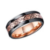 (8mm) Unisex, Women's or Men's Tungsten Carbide Wedding Ring Band. Black with Rose Gold Celtic Knot with Resin Inlay and Rose Gold inside tone.