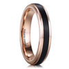 (4mm) Unisex or Women's Tungsten Carbide Wedding Ring Band. Rose Gold Band with Black Brushed Top Center Design.