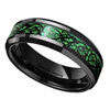 (6mm) Unisex or Women's Celtic Knot Black with Green Resin Inlay Tungsten Carbide Wedding Ring Band.