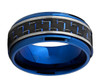 (8mm) Unisex or Men's Titanium Wedding Ring Bands. Blue Tone Band with Duo Tone Blue and Black Carbon Fiber Inlay. Comfort Fit Ring.