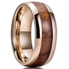 (8mm) Unisex or Men's Wood Inlay and Rose Gold Tone Titanium Steel Ring Band with High Polish Domed Top