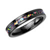 (5mm) Unisex or Women's Tungsten Carbide Wedding Ring Bands. Black Band and Multiple Color Rainbow Opal Inlay with Organic Tones.
