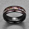 (8mm) Unisex or Men's Tungsten Carbide Wedding Ring Band - Black Tone Wood and Rainbow Opal Inlay Ring.