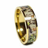 (8mm) Unisex or Men's Gold Tone with Brown, Green and Tan Camouflage Titanium Wedding Ring Band with Carbon Fiber Inlay