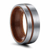 (8mm)  Unisex or Men's Titanium Wedding ring bands. Brushed Silver Tone Ring with Thin Striped Dark Wood Inlay and Smooth Wood Inside Band. Domed Light Weight Ring.