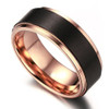 (8mm)  Unisex or Men's Titanium Wedding ring band. Black and Rose Gold Duo Tone Ring. Comfort Fit Wedding Rings