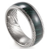 (8mm)  Unisex or Men's Inspired Damascus - Titanium Ring with Faux Engraved Damascus Stripes and Green Wood Domed Top