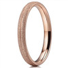 (3mm)  Women's Titanium Wedding ring band. Rose Gold Sand Blasted Matte Frosted Glittery Finish Titanium Ring with Domed Edges