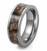 (7mm)  Unisex or Men's Titanium Wedding ring band. Silver Tone with Brown, Green and Tan Camouflage Carbon Fiber Inlay