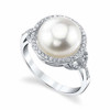 Women's White Pearl Wedding Ring - Genuine Freshwater Cultured Pearl 11-12mm with Round Cubic Zirconia for Women