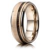 (8mm)  Unisex or Men's Titanium Wedding ring bands. Rose Gold Ring with Thin Striped Dark Wood Inlay. Light Weight Ring.