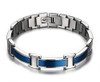8.5 Inch Length - Men's Blue and Silver Titanium Magnetic Bracelet - Duo-tone links