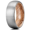 (8mm)  Unisex or Mens Tungsten Carbide Ring. Matte Finish Silver / Gray Domed Wedding ring band with Tan Wood Interior Comfort Fit