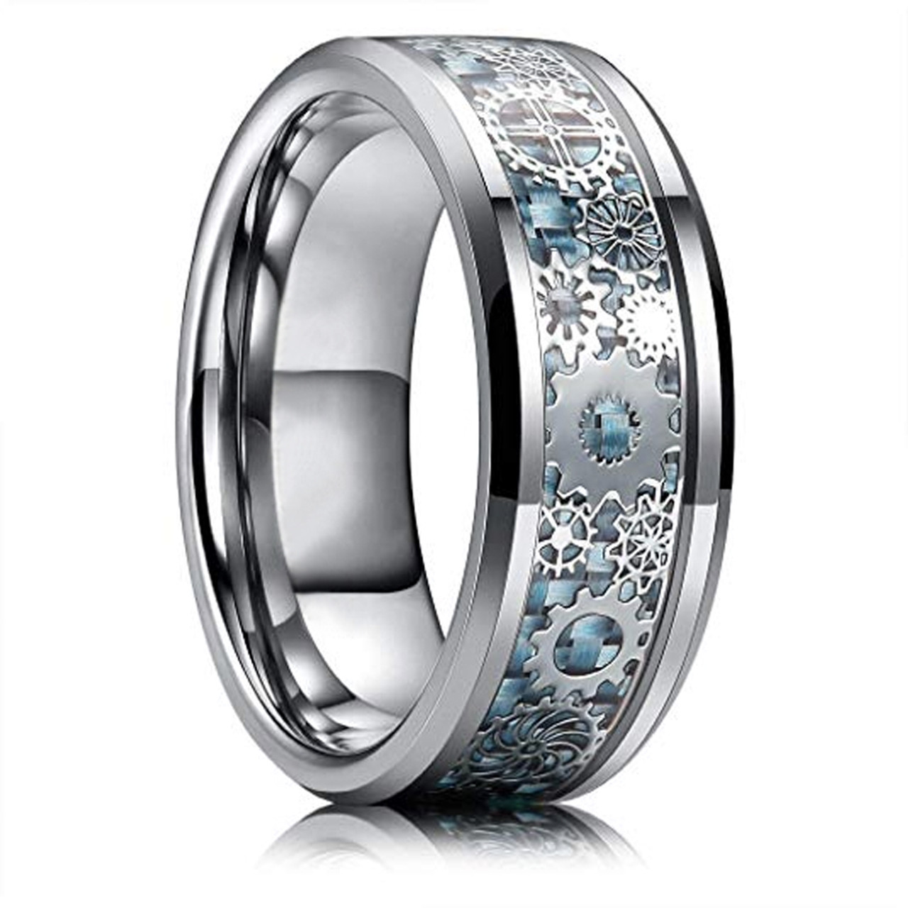 Tungston Carbide Wedding Rings.8mm Unisex Or Men S Tungsten Carbide Wedding Ring Band Wedding Ring Band Sky Blue Carbon Fiber Inlay Silver Band With Silver Mechanical Gears