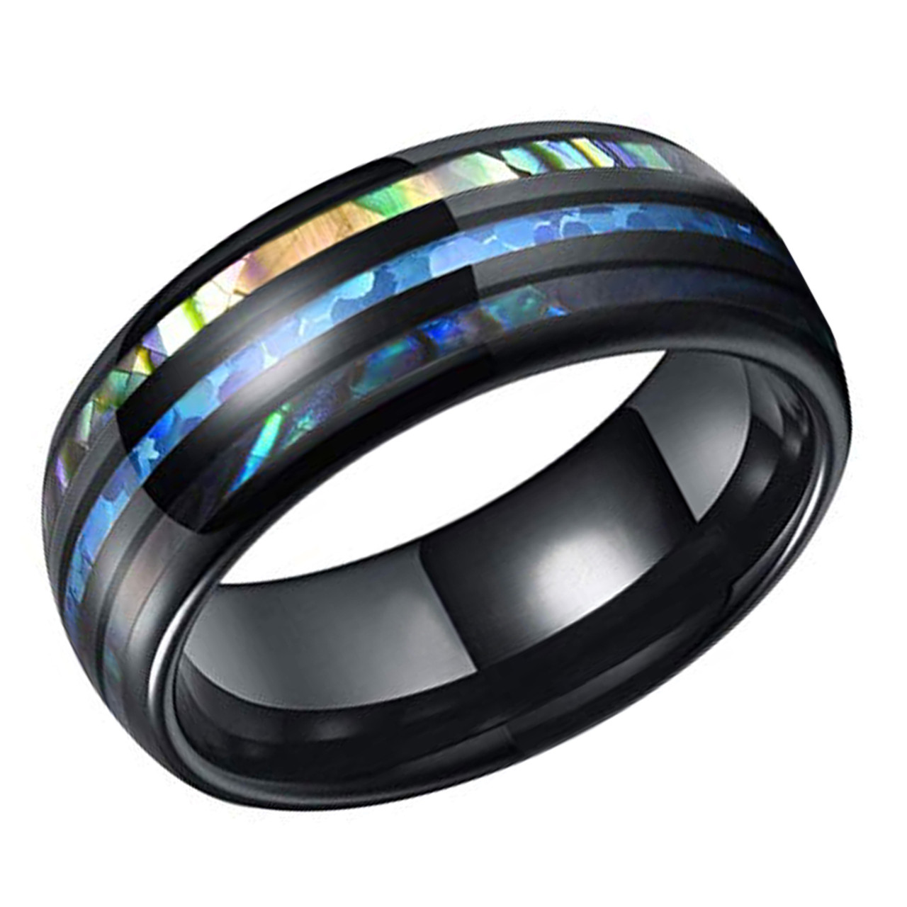 8MM Black Polished Ceramic Green Shell Abalone Wedding Band Mens Ring