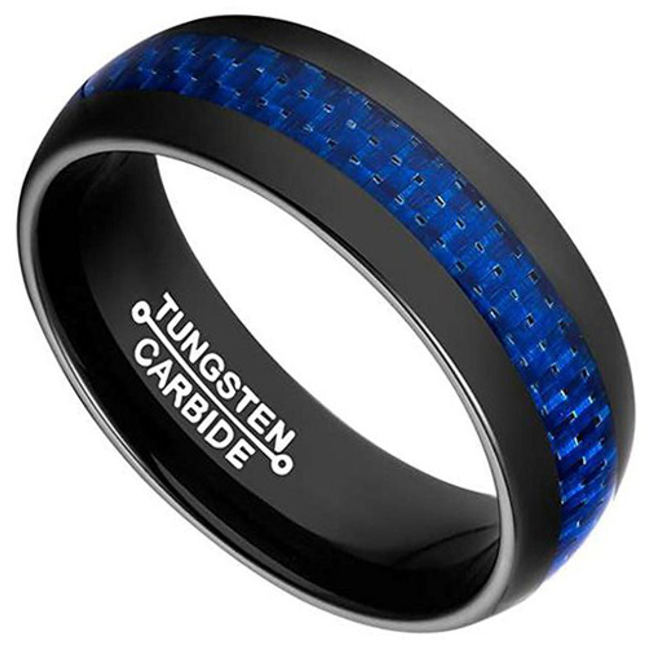 8mm Tungsten Carbide Gold Plated with Black /& Blue Carbon Fiber Inlay Wedding Band Ring for Men Or Ladies