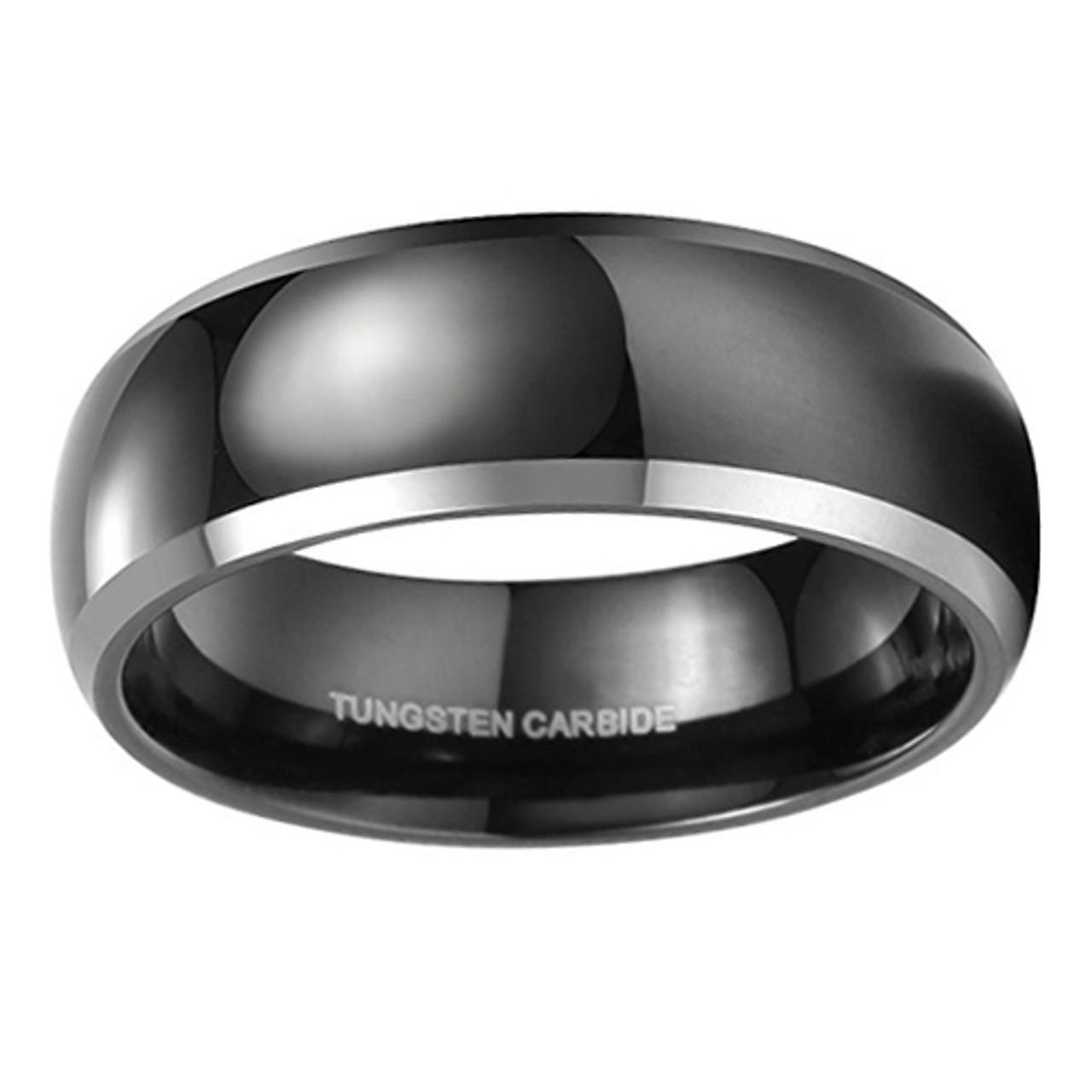Gift box Men 8mm Titanium Ring Beveled Edges Black /& Dark Color Two-tone Band
