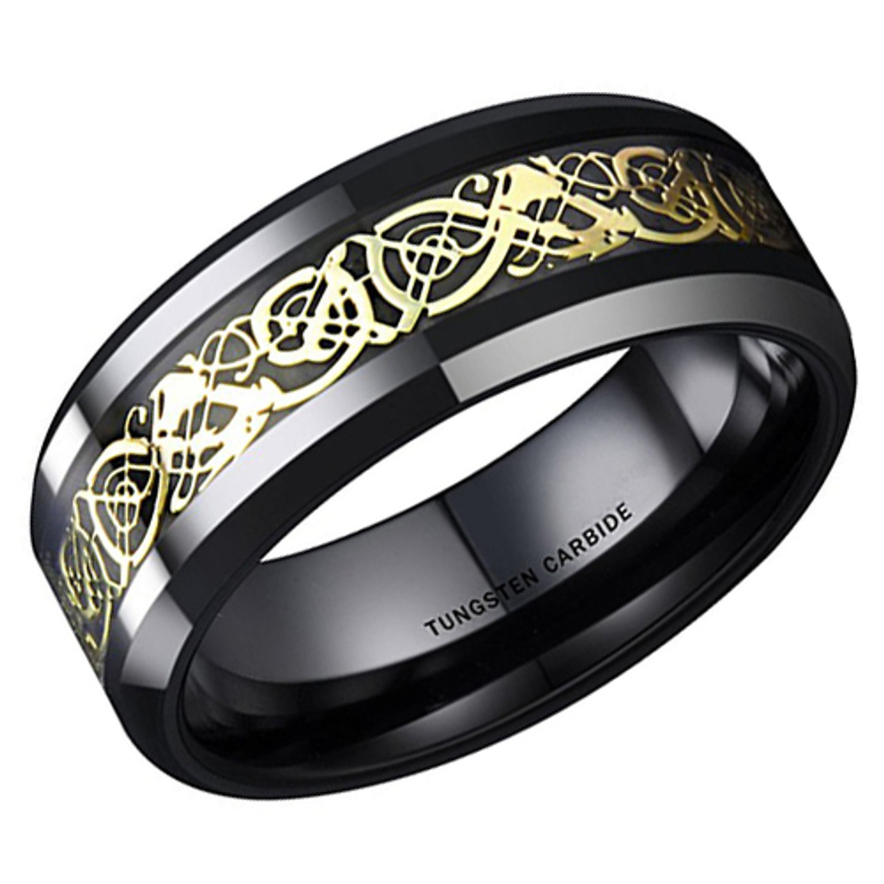 8mm Unisex Or Men S Tungsten Carbide Wedding Ring Band Black Celtic Knot Band With Yellow Gold Resin Inlay Design Ring Blingers