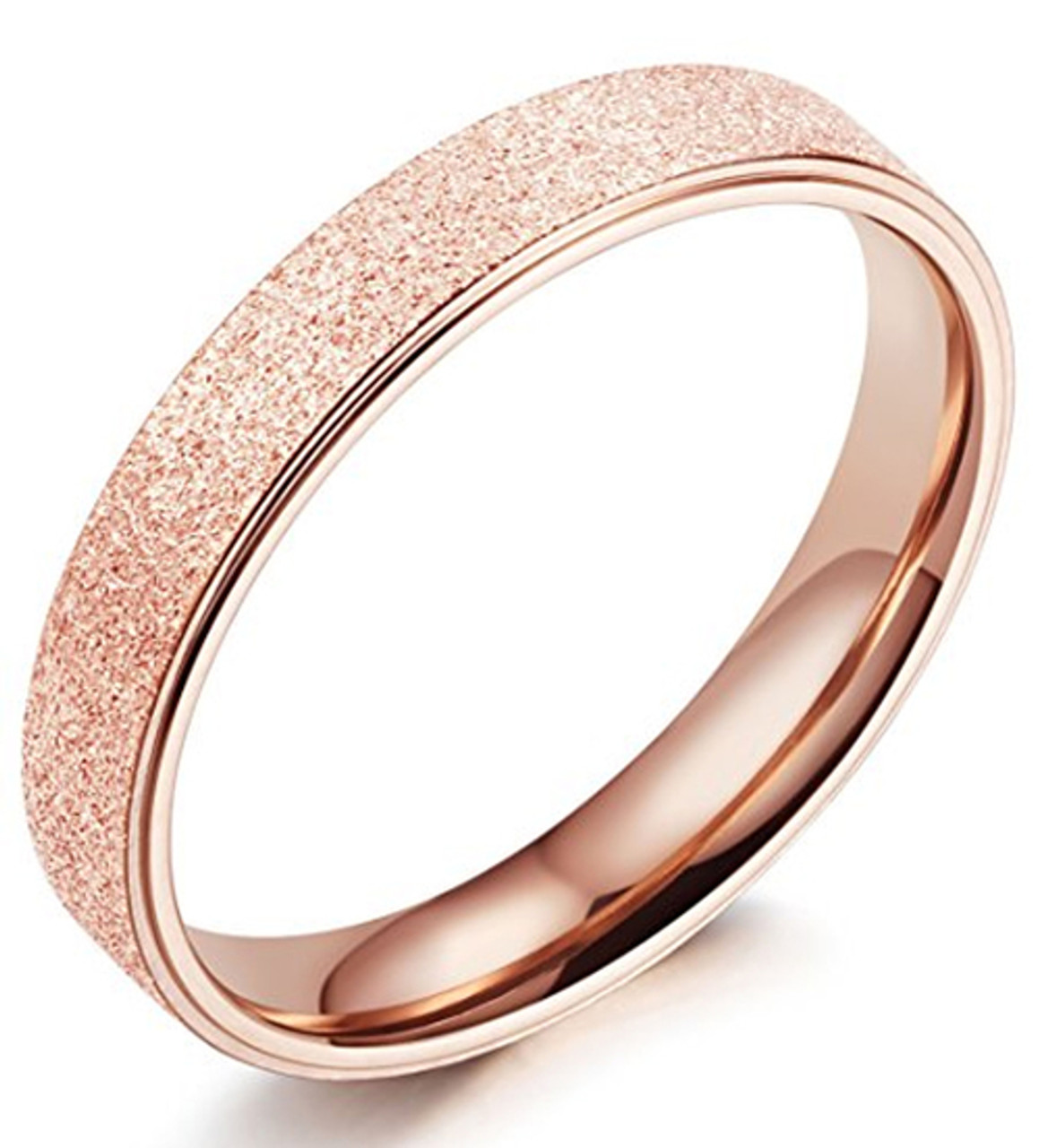 3d8fff2867441 (4mm) Women's Rose Gold Sand Blasted Glittery Finish Titanium Wedding Ring  Band with Flat Edge