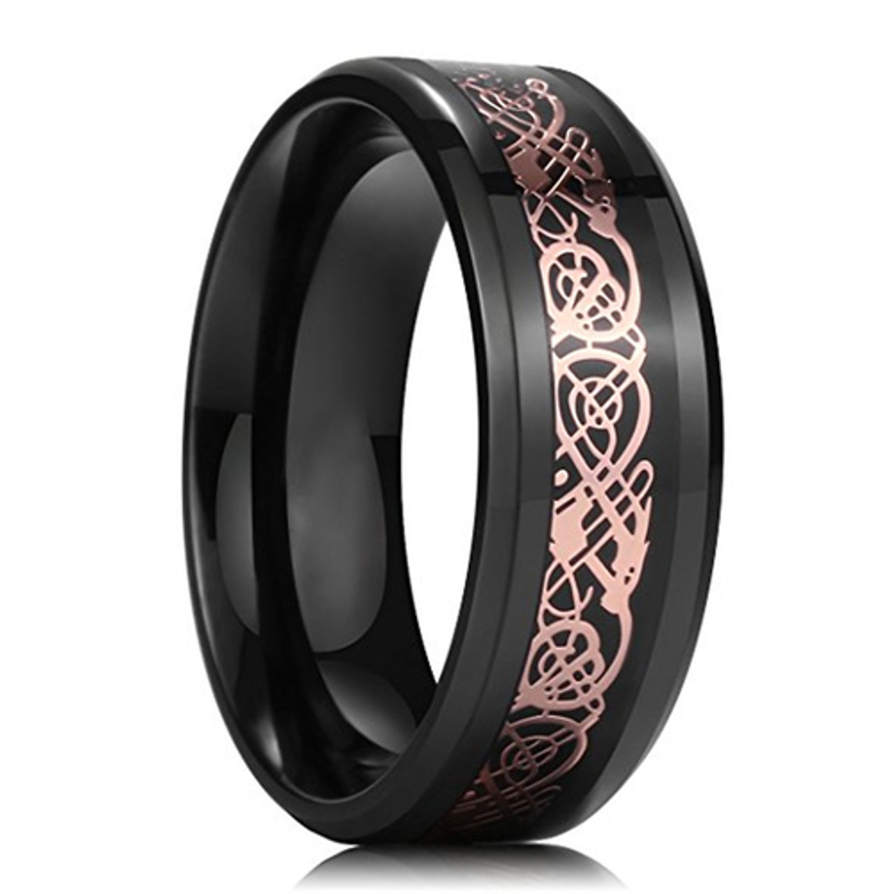 8mm Unisex Or Men S Ceramic Wedding Ring Band Celtic Knot Ring With Rose Gold And Black Resin Inlay Ring Blingers