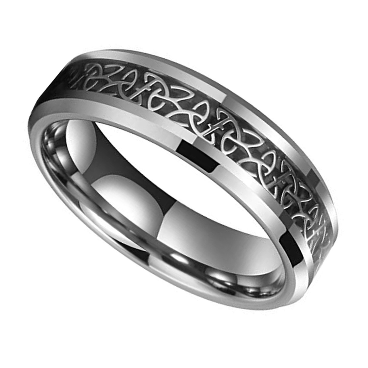 (6mm) Unisex or Women s Tungsten Carbide Wedding Ring Band. Silver Celtic Knot  Ring 61b3b5287