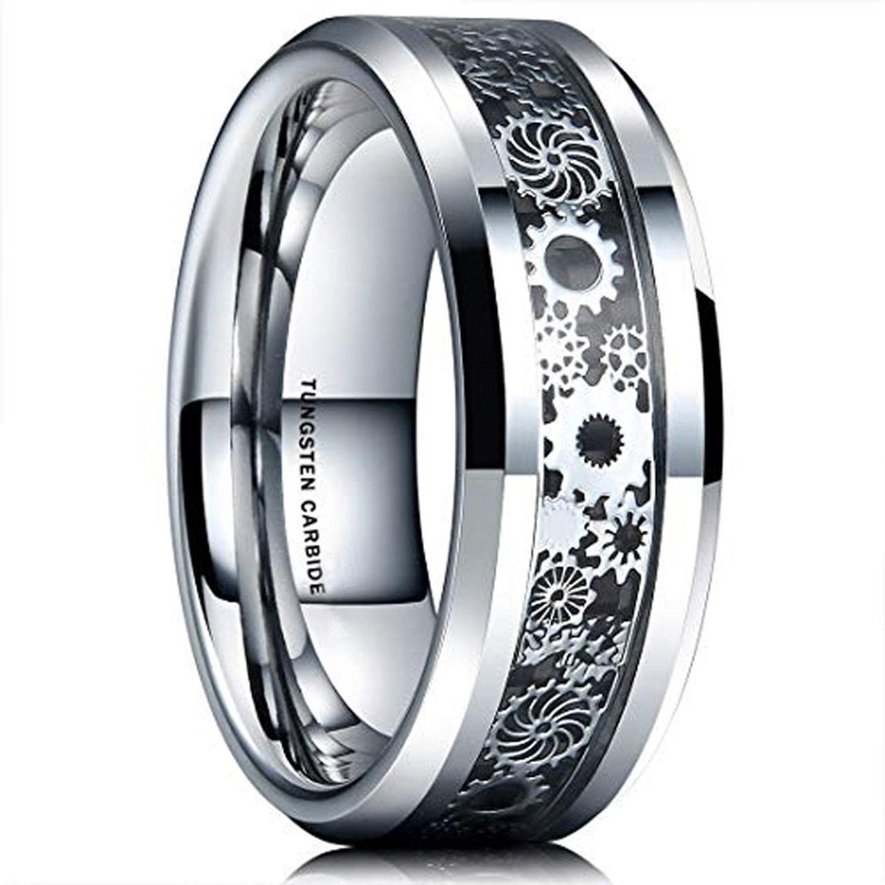 871d2fd5a0 (8mm) Unisex or Men's Tungsten Carbide Wedding Ring Band. Silver Band with  Silver